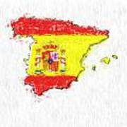 Spain Painted Flag Map Poster