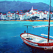 Spain Series 08 Cadaques Red Boat Poster