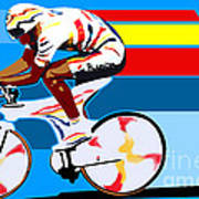 spanish cycling athlete illustration print Miguel Indurain Poster