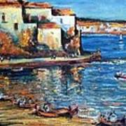 Spanish Fishing Village Poster