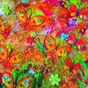 Sparking Butterflies Flowers Poster