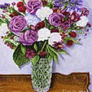 Special Bouquet In Crystal Vase On Heirloom Table Poster