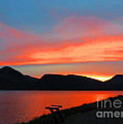 Spectacular Sunset On The Lake. Yellowstone. Poster