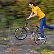 Speed - Monika Hinz Doing A Wheelie On Her Bmx Flatland Bike Poster