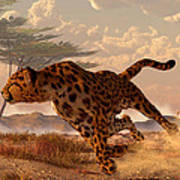 Speeding Cheetah Poster by Daniel Eskridge