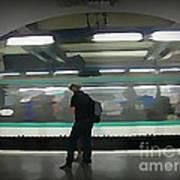 Speeding Subway Train Poster