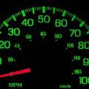 Speedometer On Black Isolated Poster