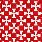 Spice Twirl- Red And White Pattern Poster by Linda Woods