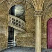 Spiral Stairway And Red Door Poster
