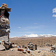 Spiritual Cairn In The Peruvian Altiplano Poster
