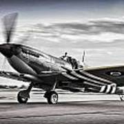 Spitfire Warming Up For D Day Poster