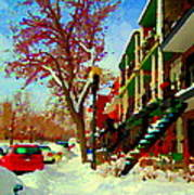 Splendor And Colors Of Quebec Winters Verdun Montreal Urban Street Scene Carole Spandau Poster