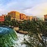 Spokane Falls City Skyline Poster by Dan Quam