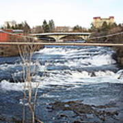 Spokane Falls In Winter Poster