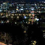 Spokane Washington Skyline At Night Poster