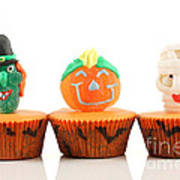 Spooks Cup Cakes On White Background Poster
