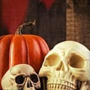 Spooky Halloween Skulls Poster by Edward Fielding