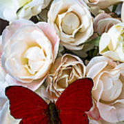 Spray Roses And Red Butterfly Poster
