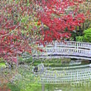 Spring Color Over Japanese Garden Bridge Poster