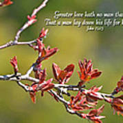 Spring Leaves Greeting Card With Verse Poster