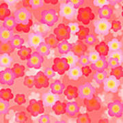 Spring Time Cherry Blossom Seamless Tile Background Poster