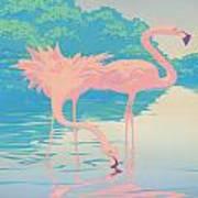 Square Format - Pink Flamingos Retro Pop Art Nouveau Tropical Bird 80s 1980s Florida Painting Print Poster