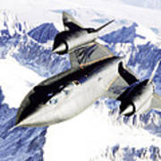 Sr-71 Over Snow Capped Mountains Poster
