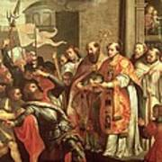 St. Bernard Of Clairvaux 1090-1153 And William X 1099-1137 Duke Of Aquitaine Oil On Canvas Poster