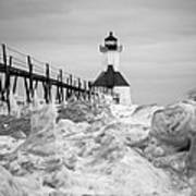 St. Joseph Lighthouse In Ice Field Poster