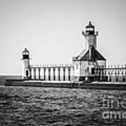 St. Joseph Lighthouses Black And White Picture  Poster