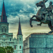 St. Louis Cathedral And Andrew Jackson- Artistic Poster