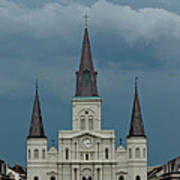 St Louis Cathedral Under Storm Clouds Poster