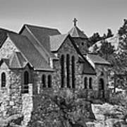 St Malo Chapel On The Rock Colorado Bw Poster