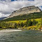 St. Mary River And East Flattop Mountain Poster