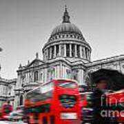 St Pauls Cathedral In London Uk Red Buses In Motion Poster
