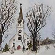 St. Pauls Church In Barton Vt In Winter Poster