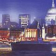 St Paul's Landscape River Poster by MGL Meiklejohn Graphics Licensing