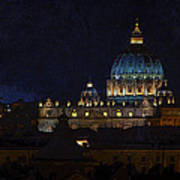 St Peters Basilica At Night Poster