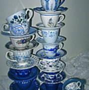 Stack Of Blue Teacups  Poster