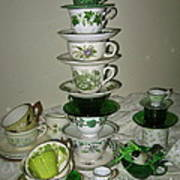 Stack Of Green Teacups  Poster