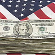 Stack Of Money On American Flag  Poster