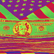 Stack Of Money On American Flag Pop Art Poster