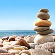 Stack Of Pebble Stones On White Poster by Sandra Cunningham