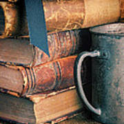 Stack Of Vintage Books Poster