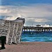 Stacked Beach Chairs Poster