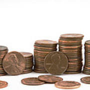 Stacks Of American Pennies White Background Poster