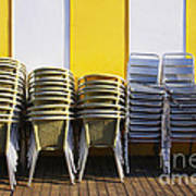 Stacks Of Chairs And Tables Poster by Carlos Caetano