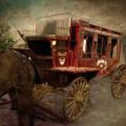 Stagecoach West Sepia Textured Poster