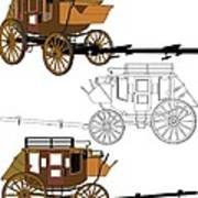 Stagecoach Without Horses - Color Sketch Drawing Poster