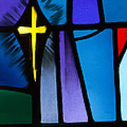 Stained Glass Cross Poster by Karen Lee Ensley